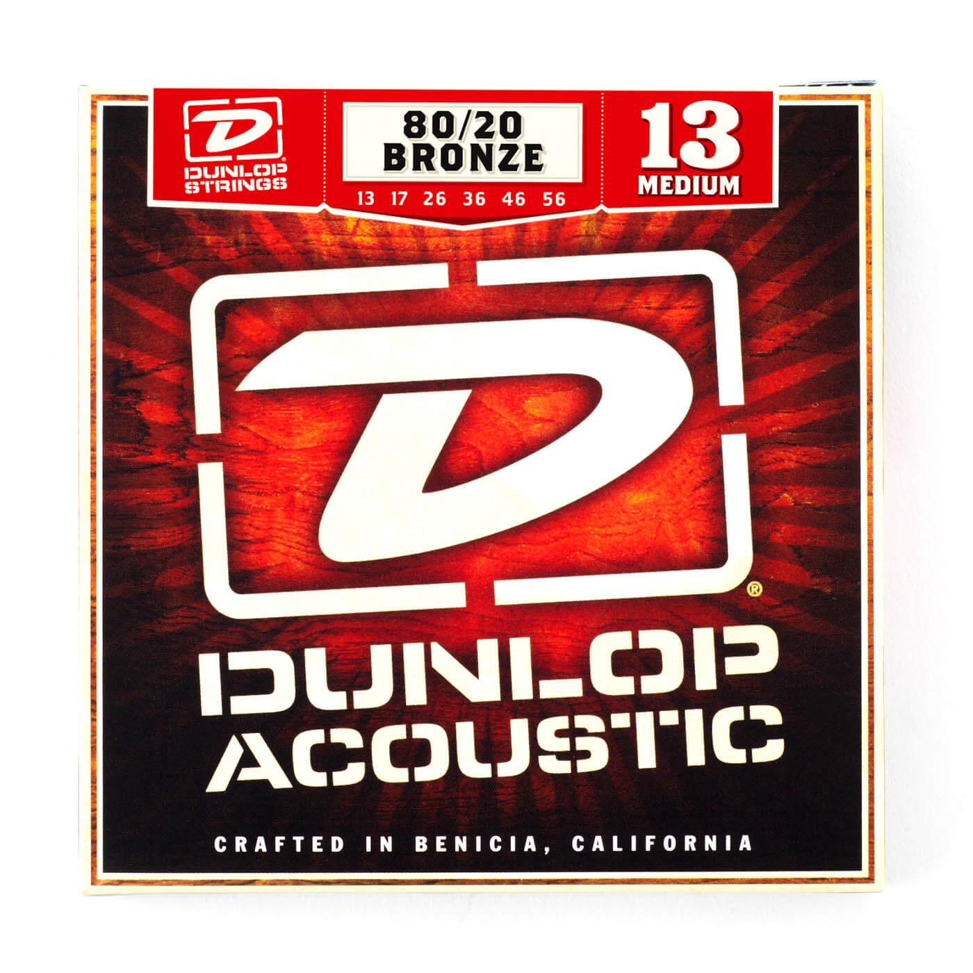 DAB1356 Комплект струн для акустической гитары, бронза 80/20, Medium, 13-56, Dunlop