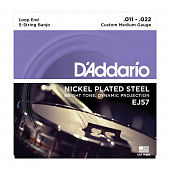 Струны для банджо D'Addario Nickel Plated Steel EJ57 Custom Medium (5 шт)